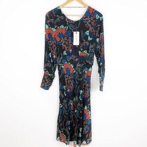 BA&SH Abelia Floral Long Sleeve Midi Dress